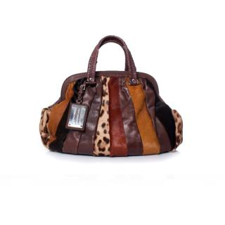 Dolce & Gabbana multi coloured leather and pony skin bag