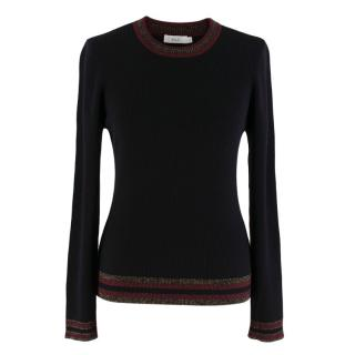 A.L.C Black Wool Ribbed Textured Jumper
