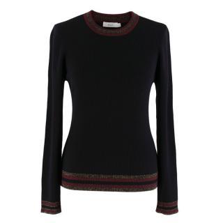 A.L.C Black Wool Ribbed Textured Jumper