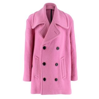 Burberry Double-Breasted Pink Wool Coat