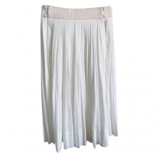 Hermes 80 cms white cotton-algodon belt detail skirt