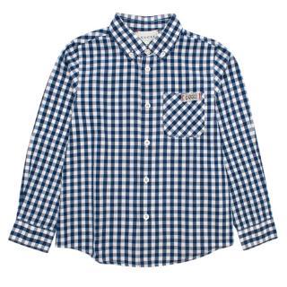 Gucci Kids Blue Checkered Shirt