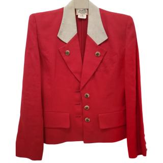 Herm�s Red Linen Sellier Tailored Jacket