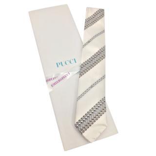 Emilio Pucci Ivory Printed Silk Tie