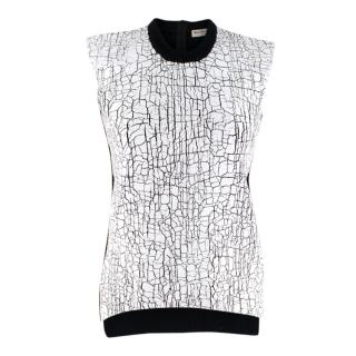 Balenciaga Black Knit Top with Crackled Painted Front