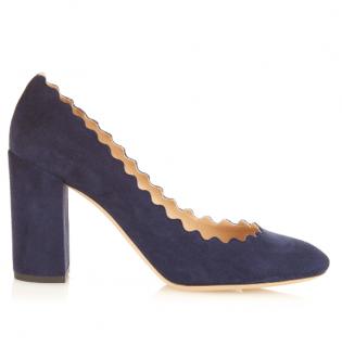 Chloe Lauren Scalloped High Block-heel Suede Pumps