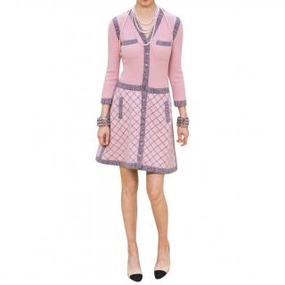 Chanel Runway Pink Silk & Cashmere Tweed Button Front Dress