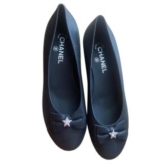 Chanel Buffalo Leather Crystal Embellished Ballerina Flats