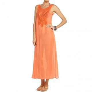Miguelina Leighanne Orange Sheer Silk Cover-Up