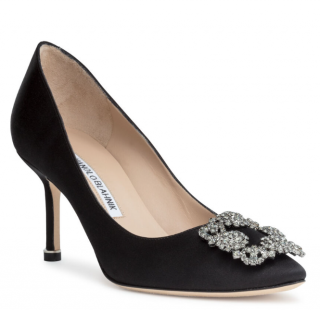 Manolo Blahnik Black Satin Hangisi 70 Pumps