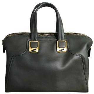 Fendi Green Leather Top Handle Tote Bag
