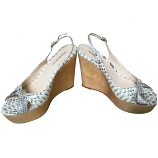 Alexandre Birman Python Embossed Wedge Sandals