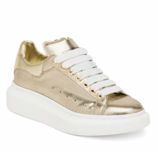 Alexander McQueen Grained Leather Gold Oversize Sneakers