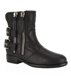 Giuseppe Zanotti Black Cobain Zip And Buckle Biker Boots