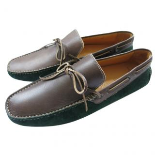 Sutor Mantellassi Suede & Leather Two-Tone Loafers