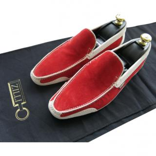 Zilli Red/Beige Suede Loafers