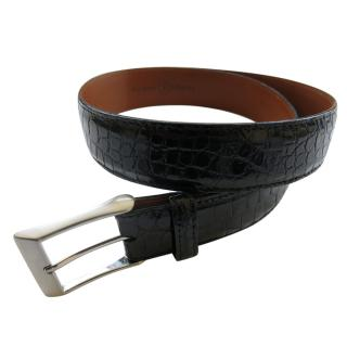 Andrew/Martin Alligator Leather Black Belt