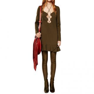 Emilio Pucci Green Lace-Up Mini Dress