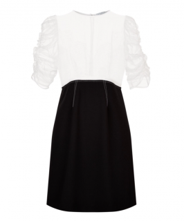 Sandro Black & White Ruched Sleeve Dress