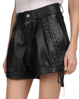 The Kooples Black Lace-Up Detail Leather Mini Shorts