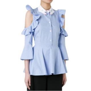 Vivetta Blue Embroidered Hand Collar Cold Shoulder Blouse