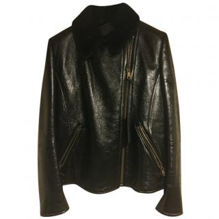 Prada Biker Sheepskin Lined Leather Jacket