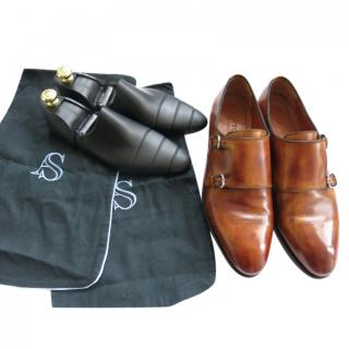 Bontoni Antique Brown Handmade Leather Double Monks