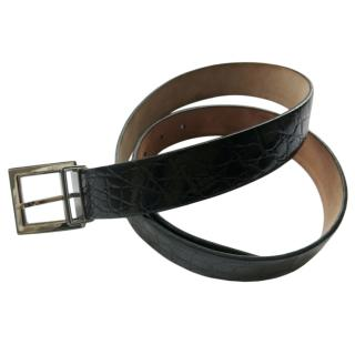 Dolce & Gabbana Black Crocodile Leather Belt