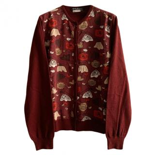 Salvatore Ferragamo Virgin Wool Printed Cardigan
