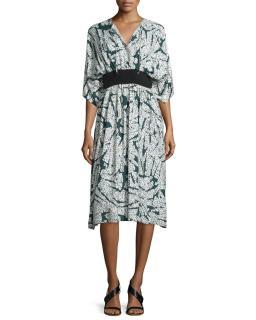 Cedric Charlier Printed Midi Dress