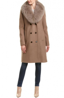 Elie Tahari Brown Trystan Wool-blend Coat