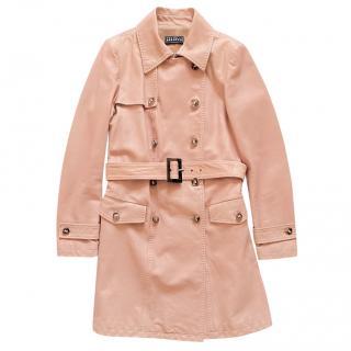 Fratelli Rossetti Blush Leather Trench Coat