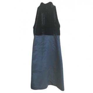 Fabi Halterneck Velvet Panelled Dress