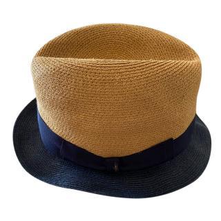 Borsalino Navy & Beige Straw Hat