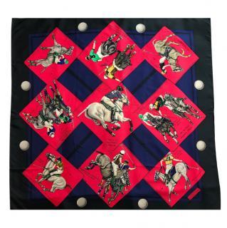 Hermes Vintage Monde Du Polo Silk Scarf