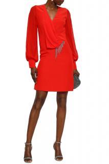 Lanvin Red Silk Crepe Embellished Mini Dress