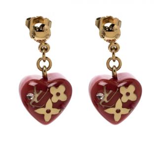Louis Vuitton Pomme D'Amour Monogram Inclusion Heart Drop Earrings