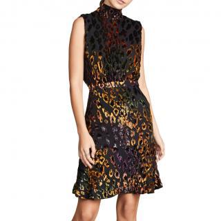 Saloni High Neck Velvet Burnout Dress