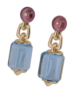 Bvlgari Rose Gold Drop Gemstone Earrings