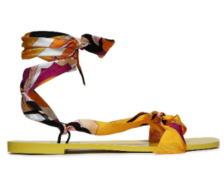 Emilio Pucci Knotted printed silk-twill sandals
