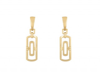 Bvlgari Yellow Gold Geometric Drop Earrings