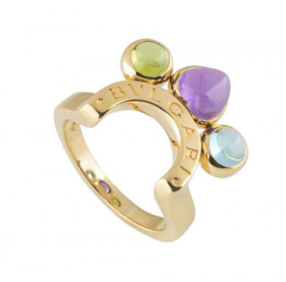 Bvlgari Gold Gemstone Crown Style Ring