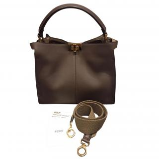 Fendi Brown Leather Peekaboo Shoulder Bag