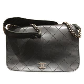 Chanel Black Diamond Stitched Messenger Bag