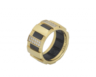 Chaumet Yellow Gold Diamond & Rubber Ring
