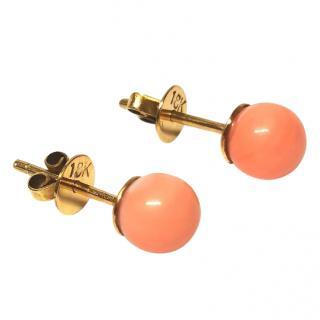 Bespoke Vintage Coral Stud Earrings