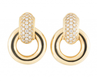 Chaumet Yellow Gold Hoop Drop Earrings with Diamonds