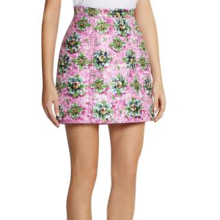 Mary Katrantzou Pink Floral Jacquard Mini Skirt