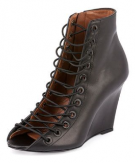 Givenchy Lace-Front Wedge Booties