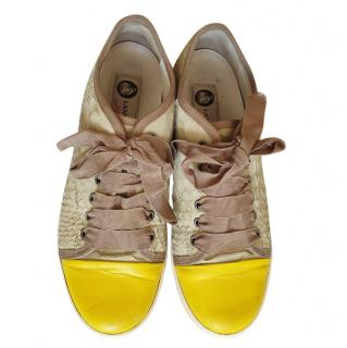 Lanvin Natural Python Cap-Toe Sneakers